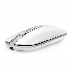 M30 Rechargeable Wireless Mouse Metal Wheel Mute 2.4G Office Mouse 500 mAh Built-in Battery (White)