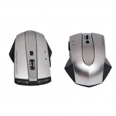 MZ-011 2.4GHz 1600DPI Wireless Rechargeable Optical Mouse with HUB Function (Black Silver)
