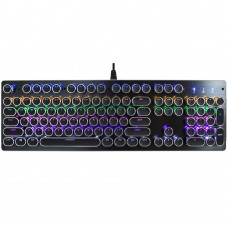 V800 Punk Round Cap 104 Keys Colorful Backlit Blue Axis Mechanical Wired Gaming Keyboard for Computer PC Laptop (Black)