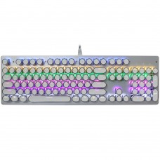 V800 Punk Round Cap 104 Keys Colorful Backlit Blue Axis Mechanical Wired Gaming Keyboard for Computer PC Laptop (White)
